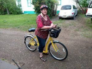 Ceilon preparing for my first actual ride on my Biria Easy Boarding bike.